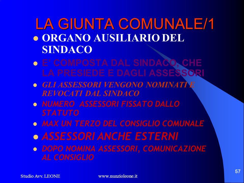 LA GIUNTA COMUNALE/1 ORGANO AUSILIARIO DEL SINDACO