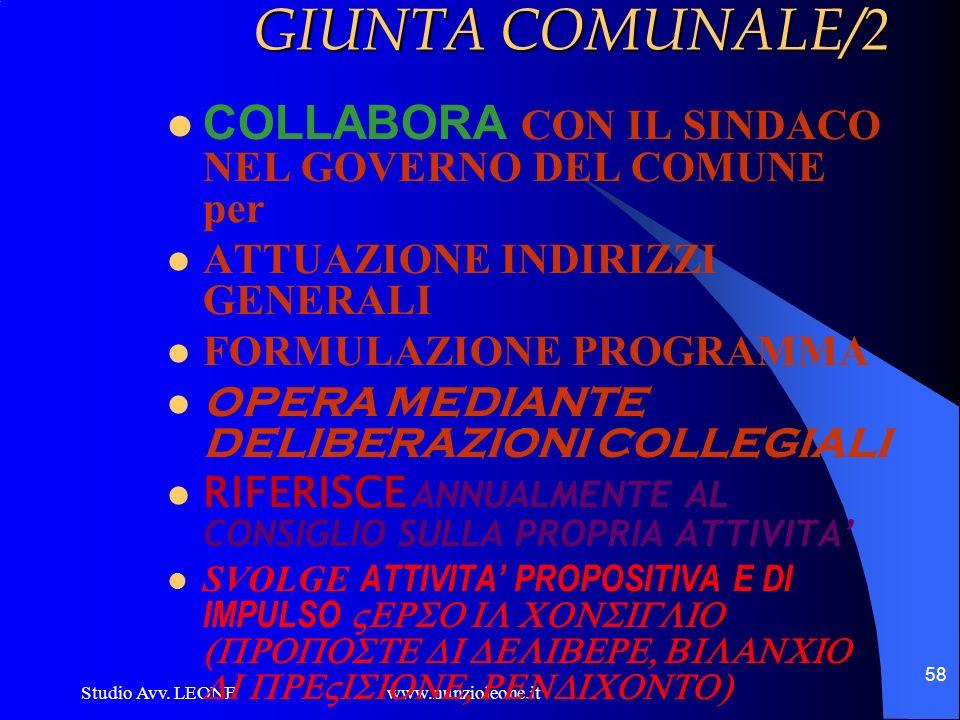 GIUNTA COMUNALE/2 COLLABORA CON IL SINDACO NEL GOVERNO DEL COMUNE per