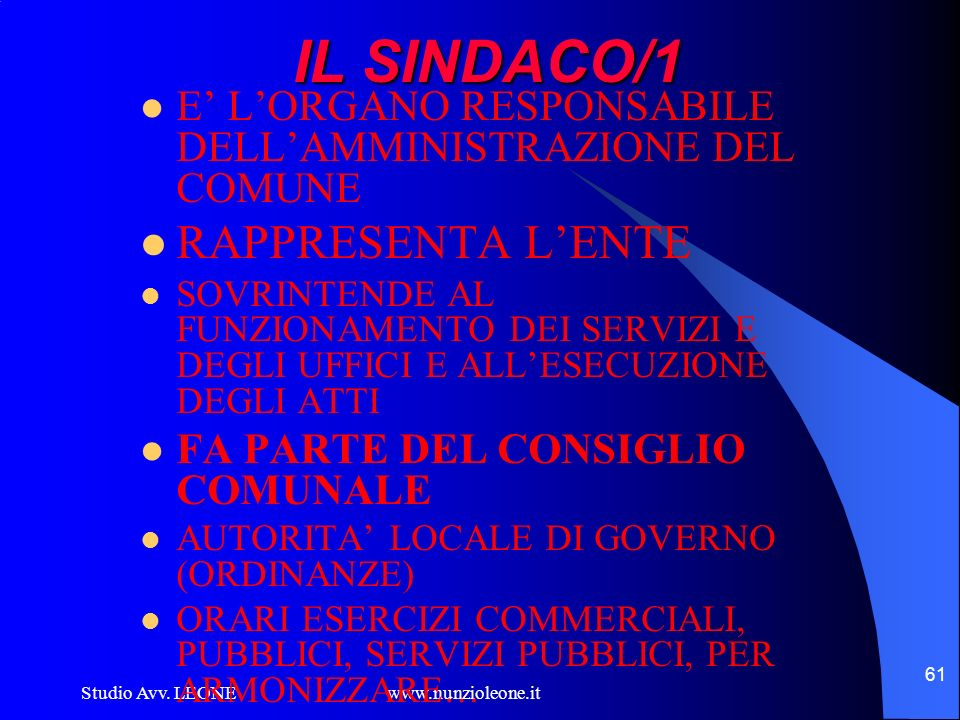 IL SINDACO/1 RAPPRESENTA L'ENTE