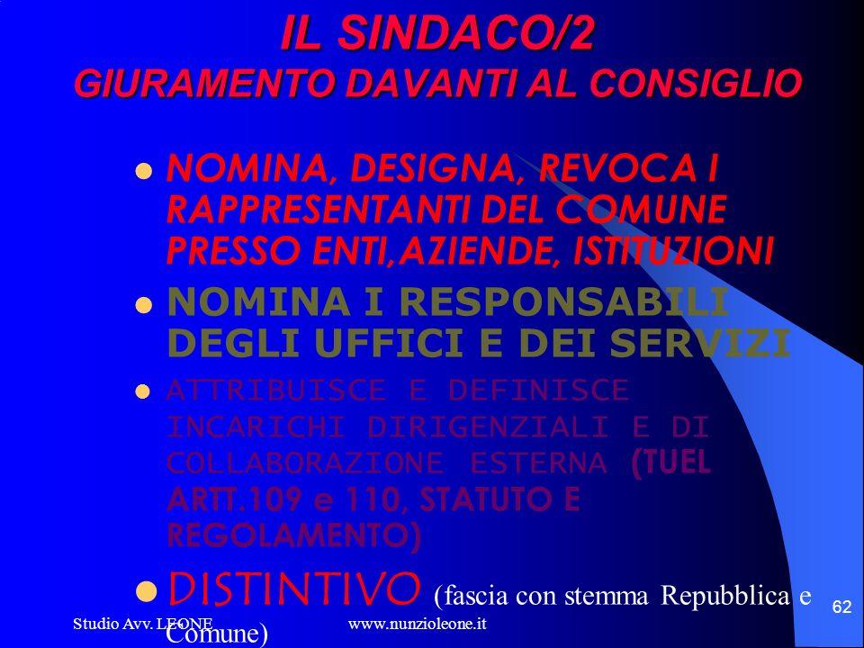 IL SINDACO/2 GIURAMENTO DAVANTI AL CONSIGLIO