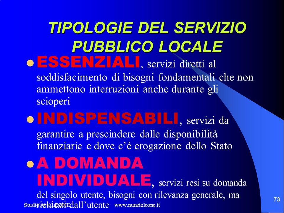 TIPOLOGIE DEL SERVIZIO PUBBLICO LOCALE
