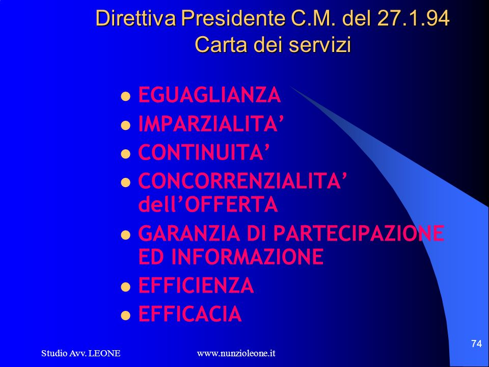 Direttiva Presidente C.M. del 27.1.94 Carta dei servizi