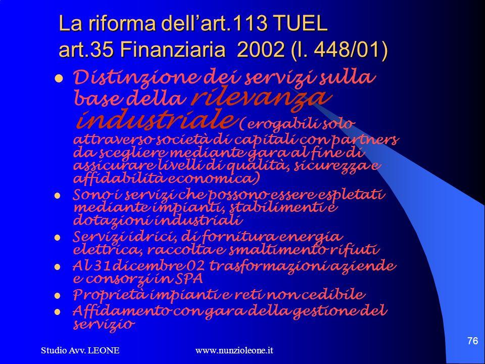 La riforma dell'art.113 TUEL art.35 Finanziaria 2002 (l. 448/01)