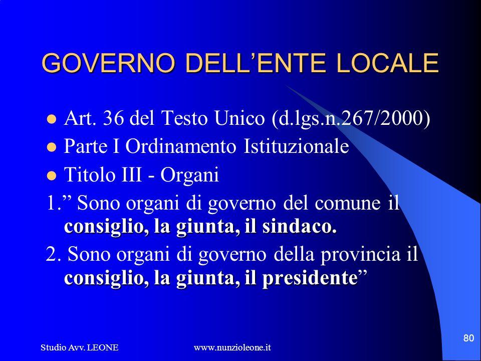 GOVERNO DELL'ENTE LOCALE