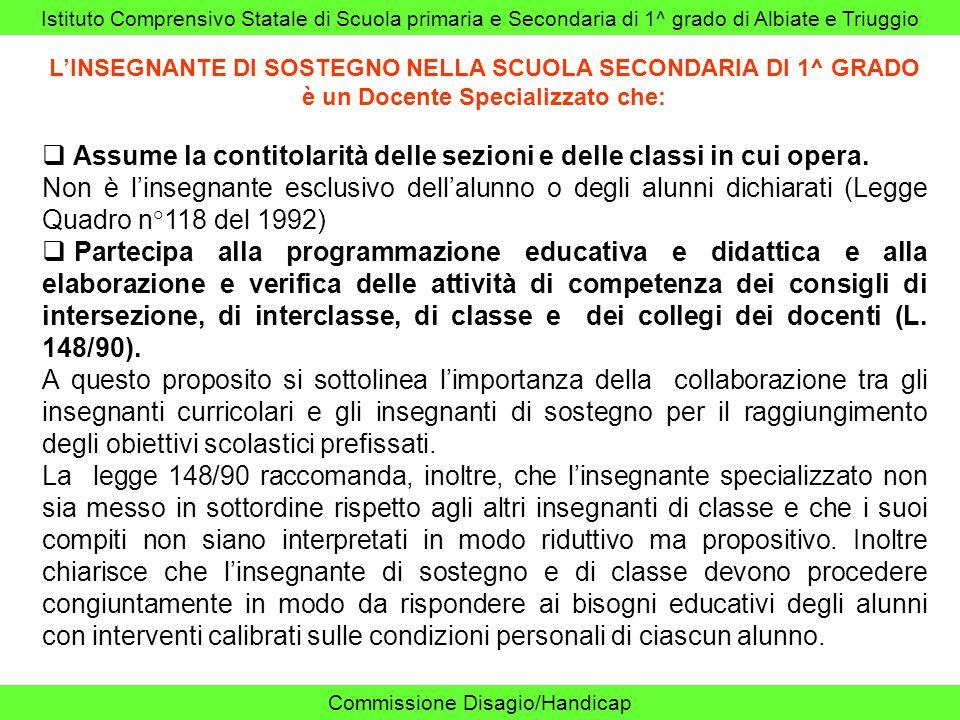 Assume la contitolarità delle sezioni e delle classi in cui opera.