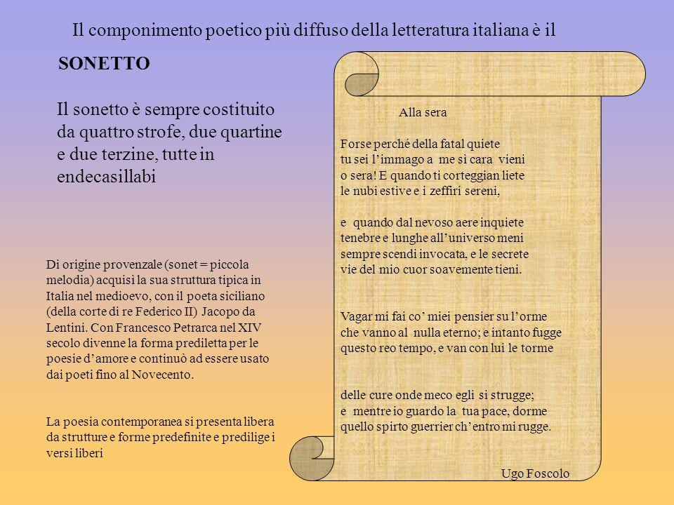Il componimento poetico più diffuso della letteratura italiana è il