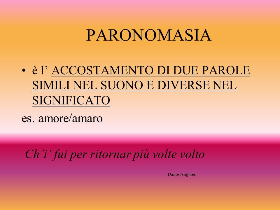 PARONOMASIA è l' ACCOSTAMENTO DI DUE PAROLE SIMILI NEL SUONO E DIVERSE NEL SIGNIFICATO. es. amore/amaro.