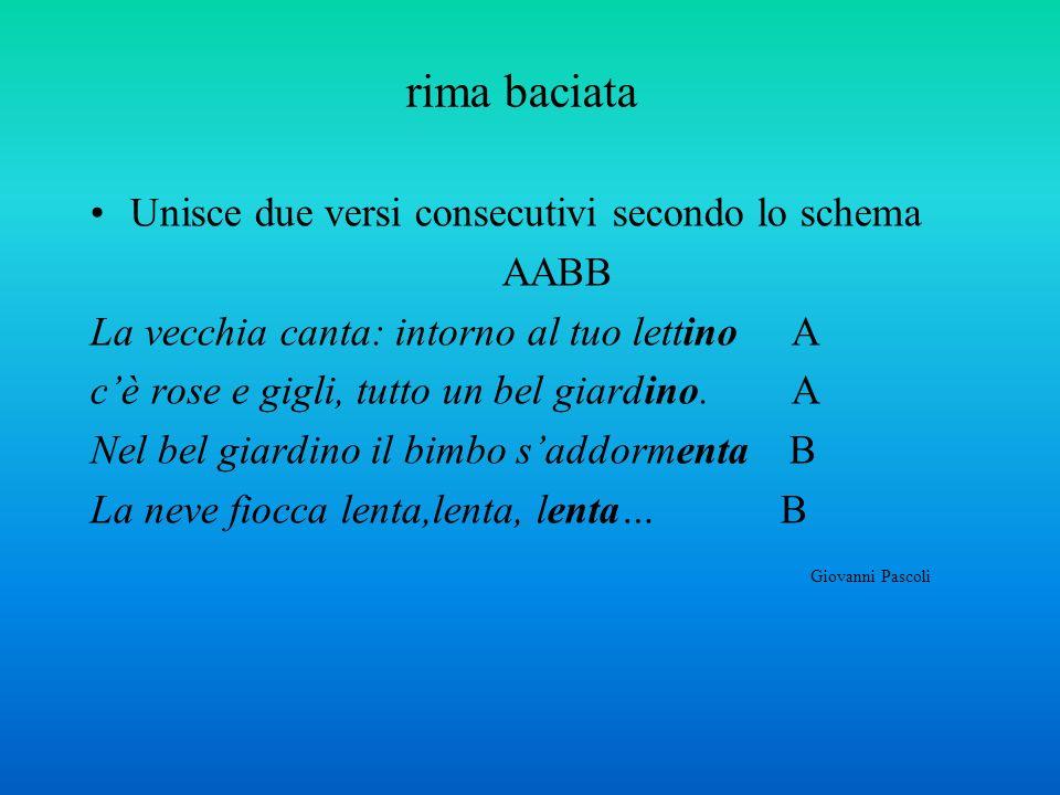rima baciata Unisce due versi consecutivi secondo lo schema AABB