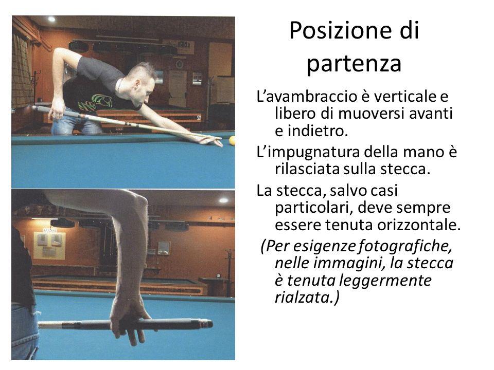 Posizione di partenza L'avambraccio è verticale e libero di muoversi avanti e indietro. L'impugnatura della mano è rilasciata sulla stecca.