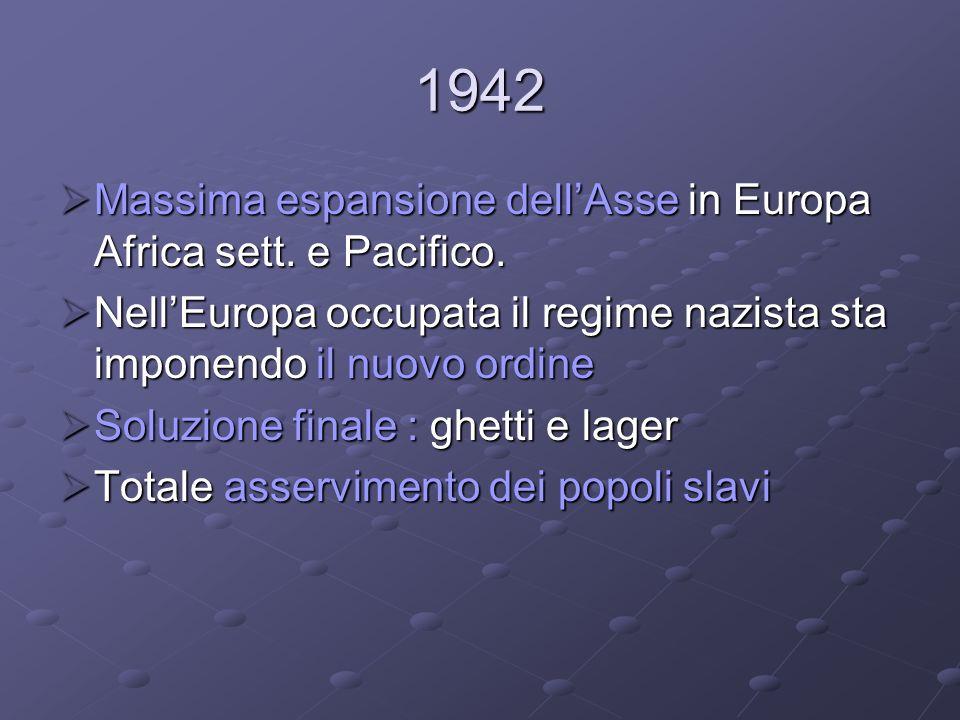 1942 Massima espansione dell'Asse in Europa Africa sett. e Pacifico.