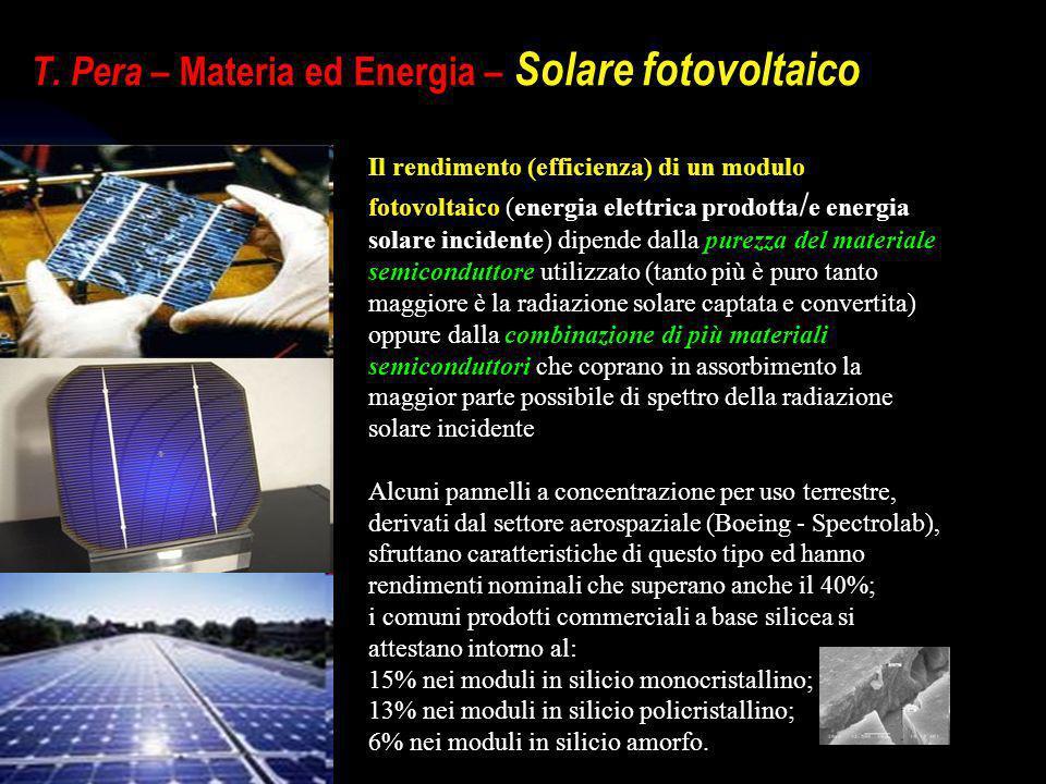 T. Pera – Materia ed Energia – Solare fotovoltaico