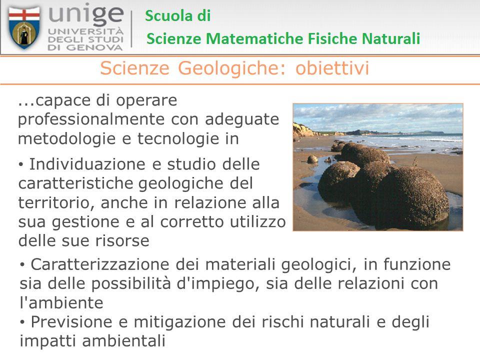 Scienze Geologiche: obiettivi