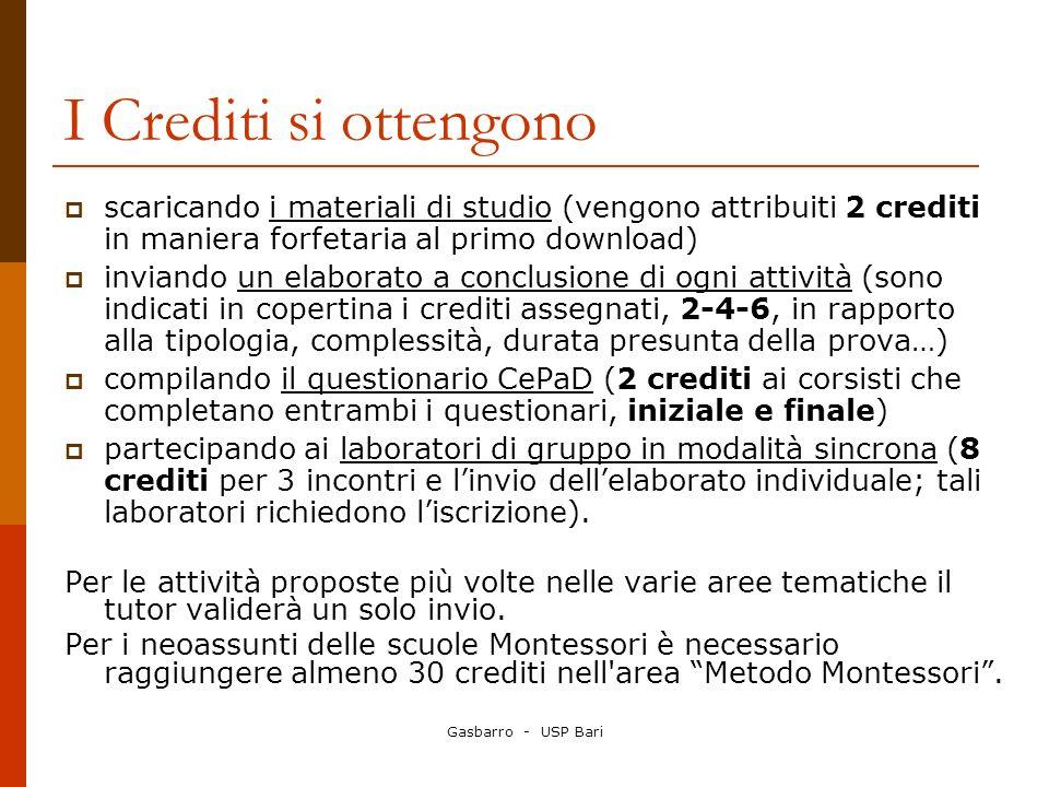 I Crediti si ottengono scaricando i materiali di studio (vengono attribuiti 2 crediti in maniera forfetaria al primo download)