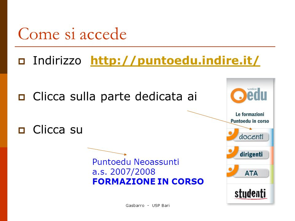 Come si accede Indirizzo http://puntoedu.indire.it/