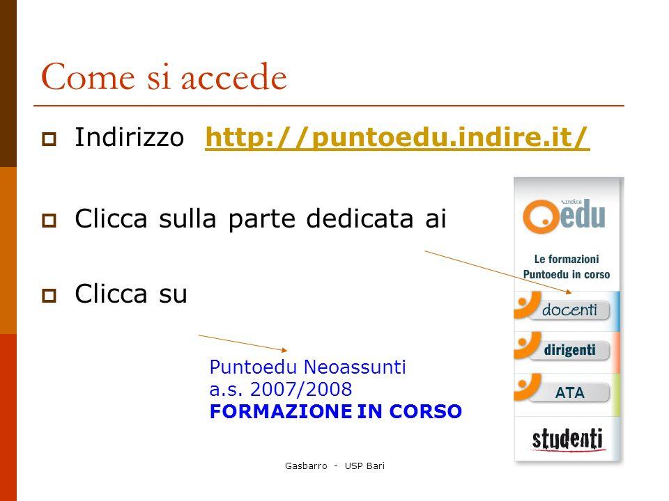 Come si accede Indirizzo http://puntoedu.indire.it/