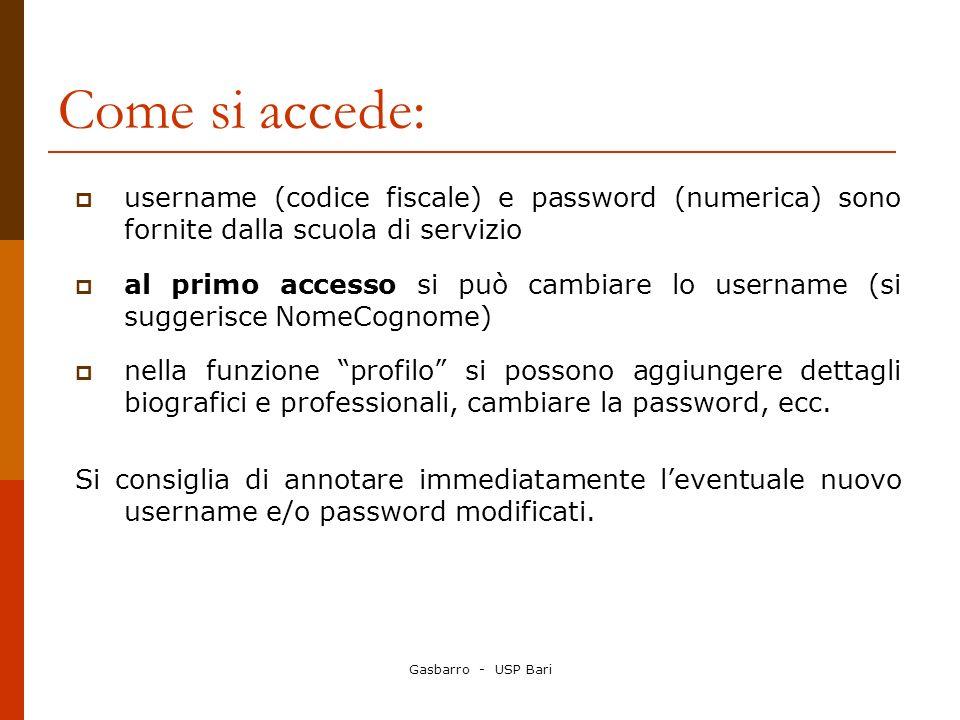 Come si accede: username (codice fiscale) e password (numerica) sono fornite dalla scuola di servizio.