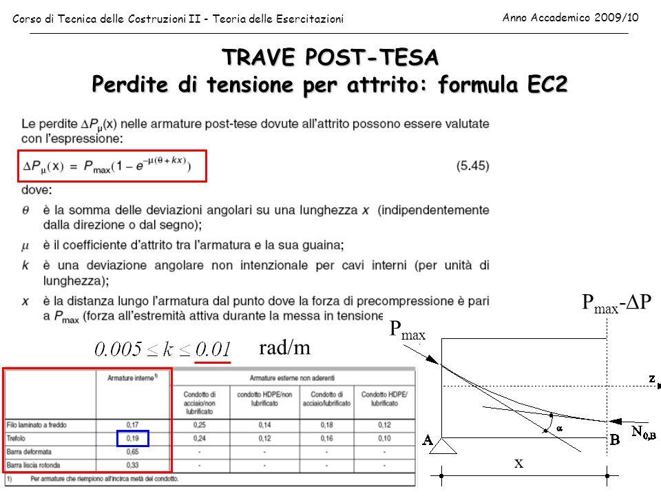 TRAVE POST-TESA Perdite di tensione per attrito: formula EC2