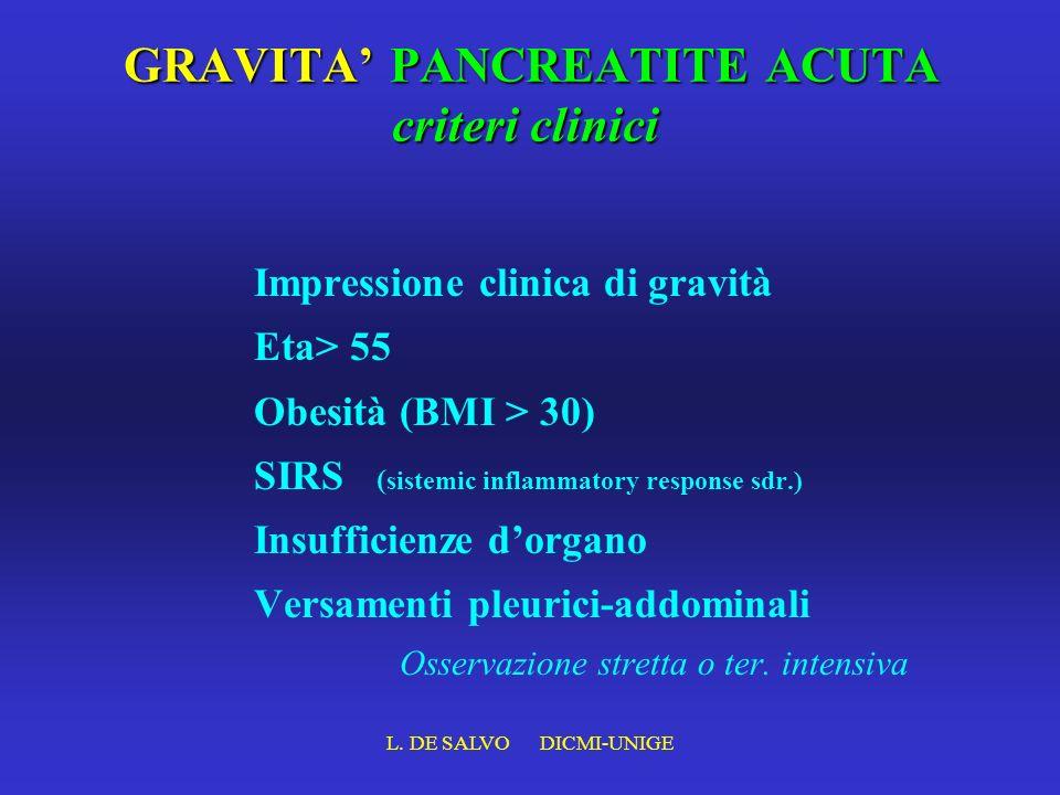 GRAVITA' PANCREATITE ACUTA criteri clinici