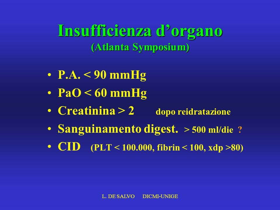 Insufficienza d'organo (Atlanta Symposium)