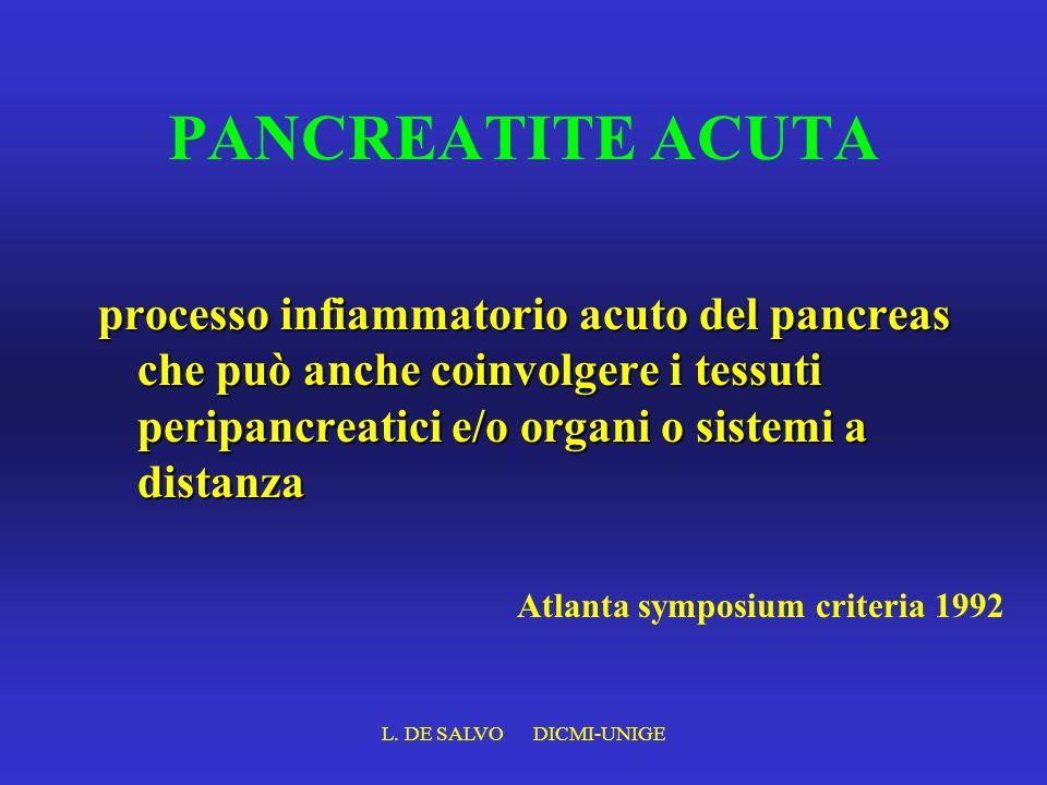 PANCREATITE ACUTA processo infiammatorio acuto del pancreas che può anche coinvolgere i tessuti peripancreatici e/o organi o sistemi a distanza.