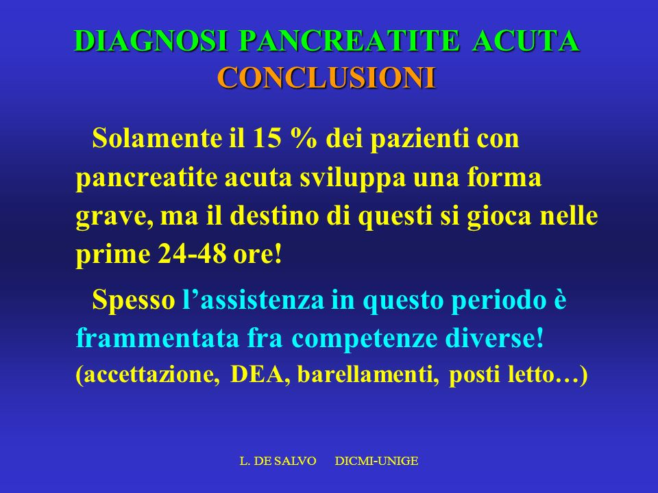 DIAGNOSI PANCREATITE ACUTA CONCLUSIONI