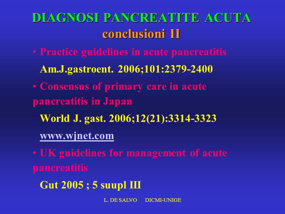 DIAGNOSI PANCREATITE ACUTA conclusioni II