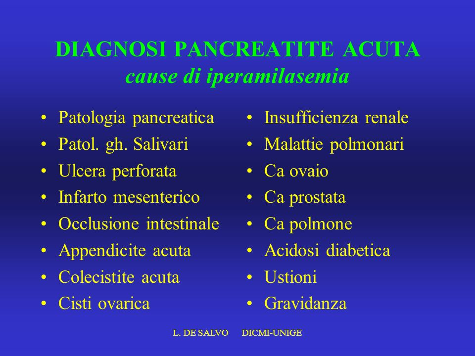 DIAGNOSI PANCREATITE ACUTA cause di iperamilasemia
