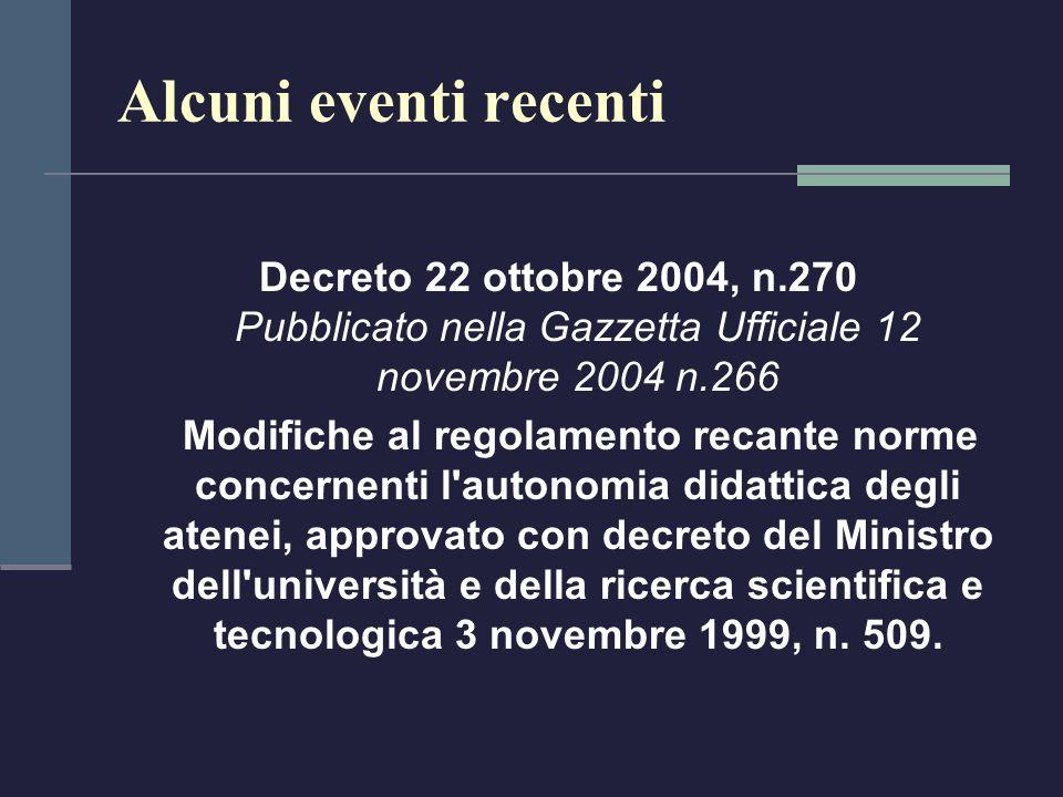 Alcuni eventi recenti Decreto 22 ottobre 2004, n.270 Pubblicato nella Gazzetta Ufficiale 12 novembre 2004 n.266.