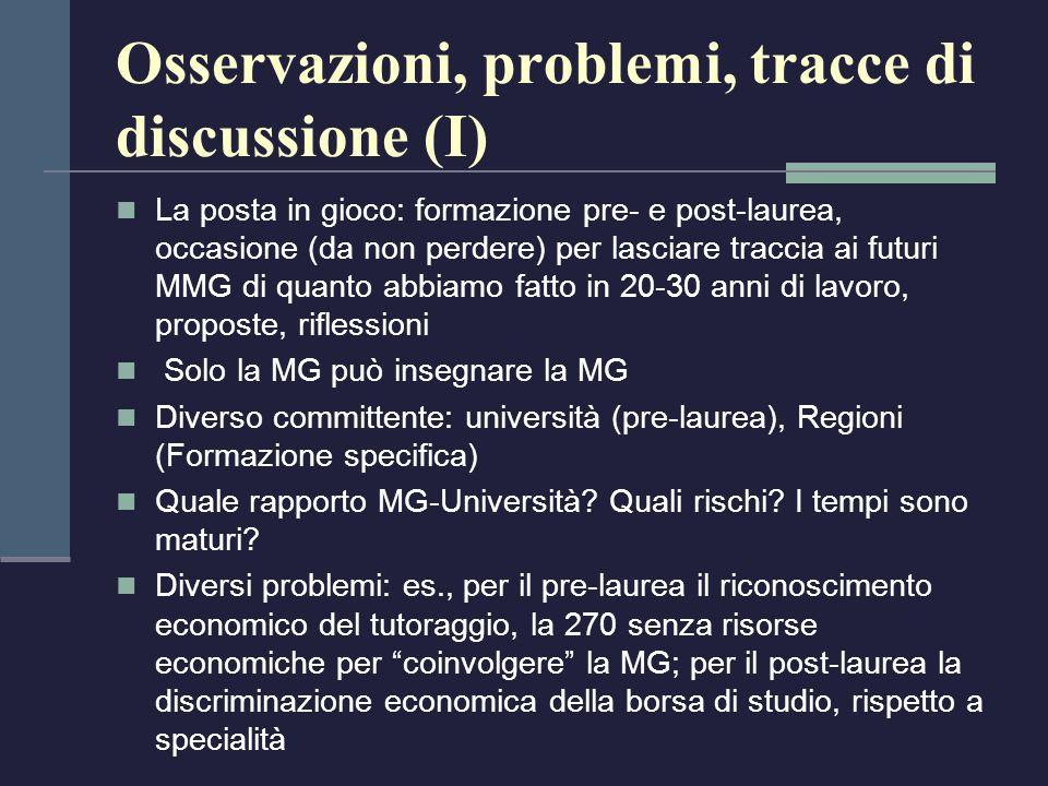 Osservazioni, problemi, tracce di discussione (I)