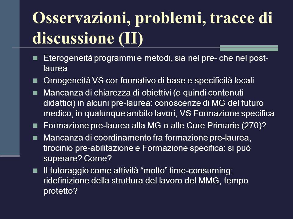 Osservazioni, problemi, tracce di discussione (II)