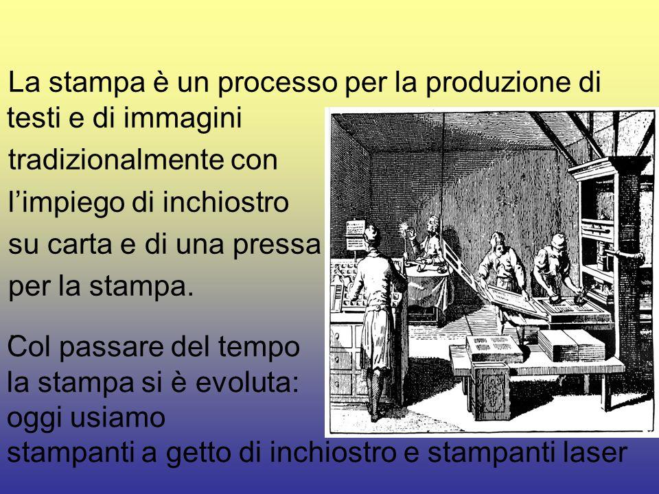 La stampa è un processo per la produzione di testi e di immagini