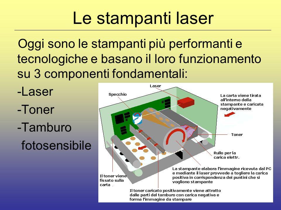 Le stampanti laser Oggi sono le stampanti più performanti e tecnologiche e basano il loro funzionamento su 3 componenti fondamentali: