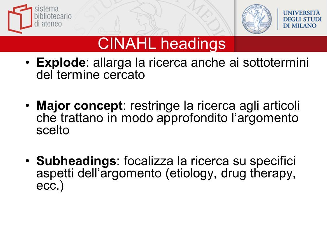 CINAHL headings Explode: allarga la ricerca anche ai sottotermini del termine cercato.