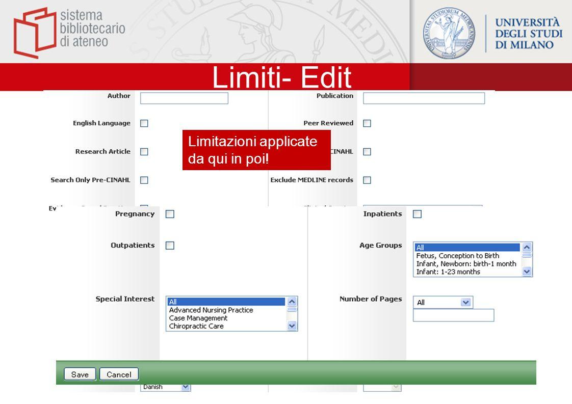 Limiti- Edit Limitazioni applicate da qui in poi!