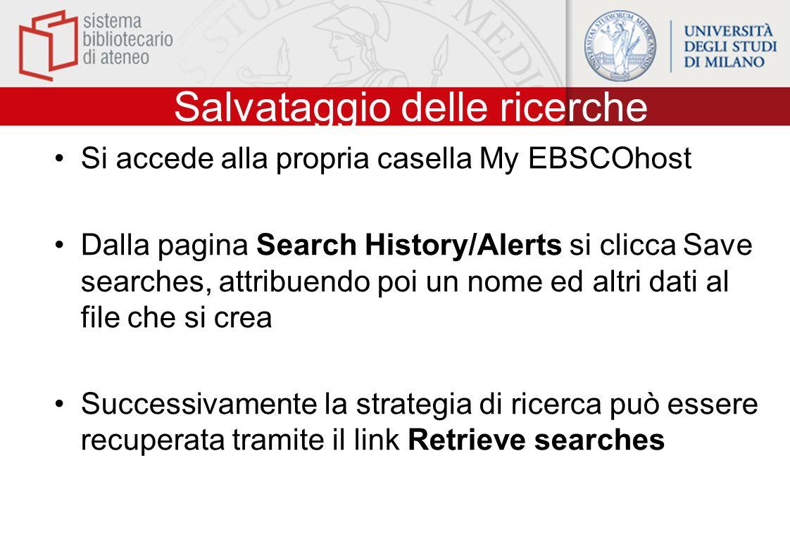 Salvataggio delle ricerche