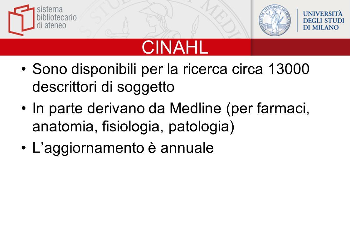 CINAHL Sono disponibili per la ricerca circa 13000 descrittori di soggetto.