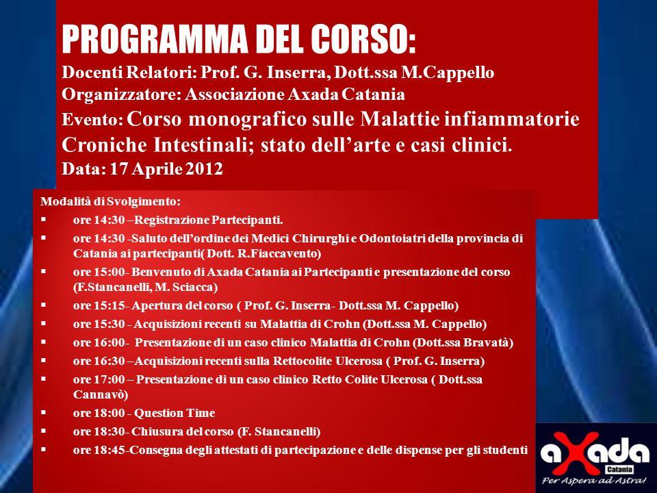 PROGRAMMA DEL CORSO: Docenti Relatori: Prof. G. Inserra, Dott. ssa M