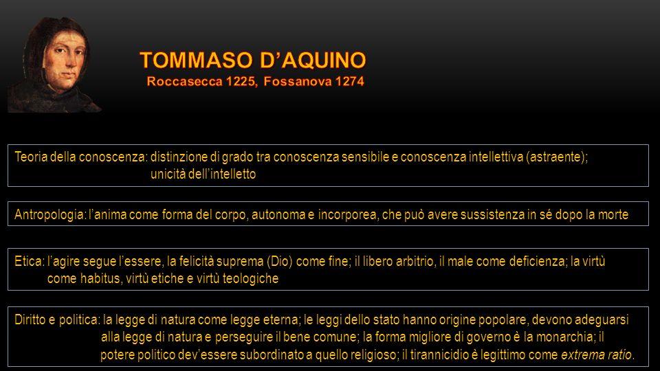 TOMMASO D'AQUINO Roccasecca 1225, Fossanova 1274.