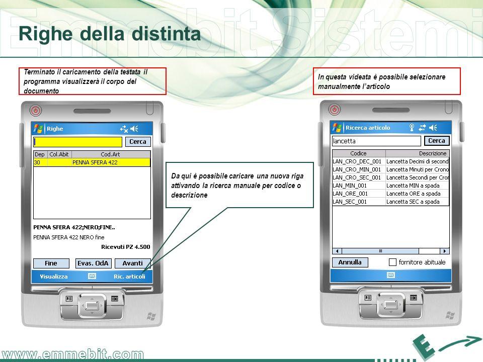 Righe della distinta Terminato il caricamento della testata il programma visualizzerà il corpo del documento.
