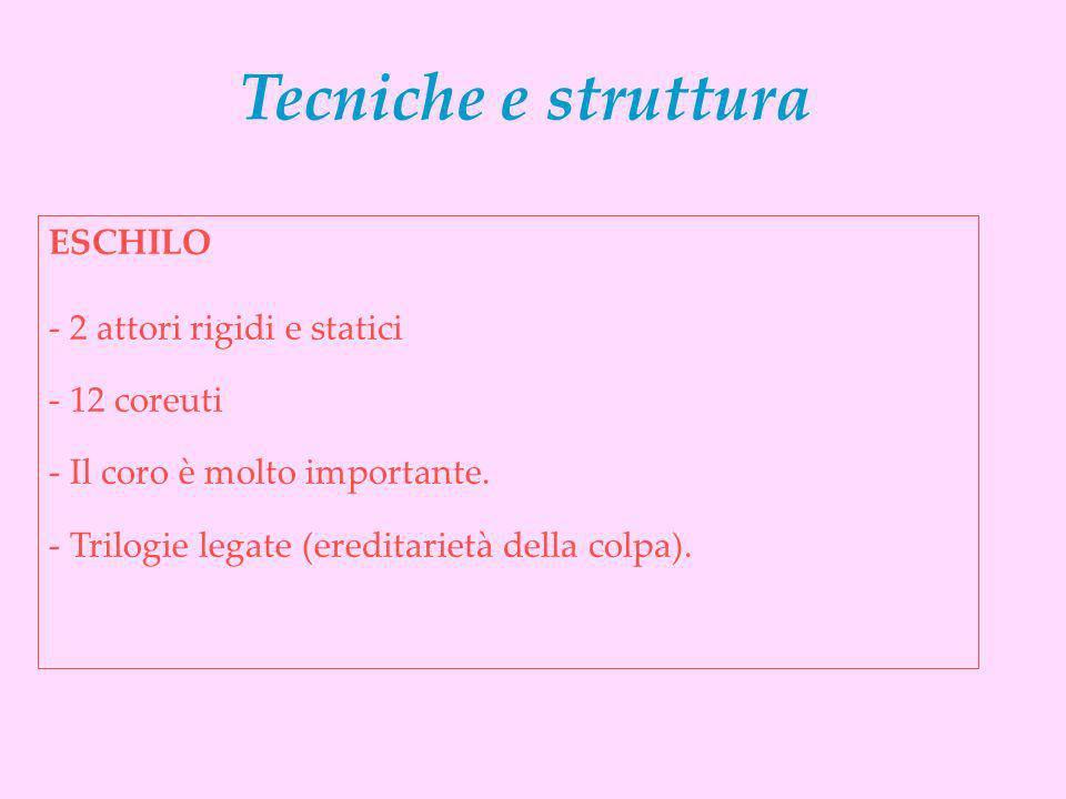 Tecniche e struttura ESCHILO - 2 attori rigidi e statici - 12 coreuti