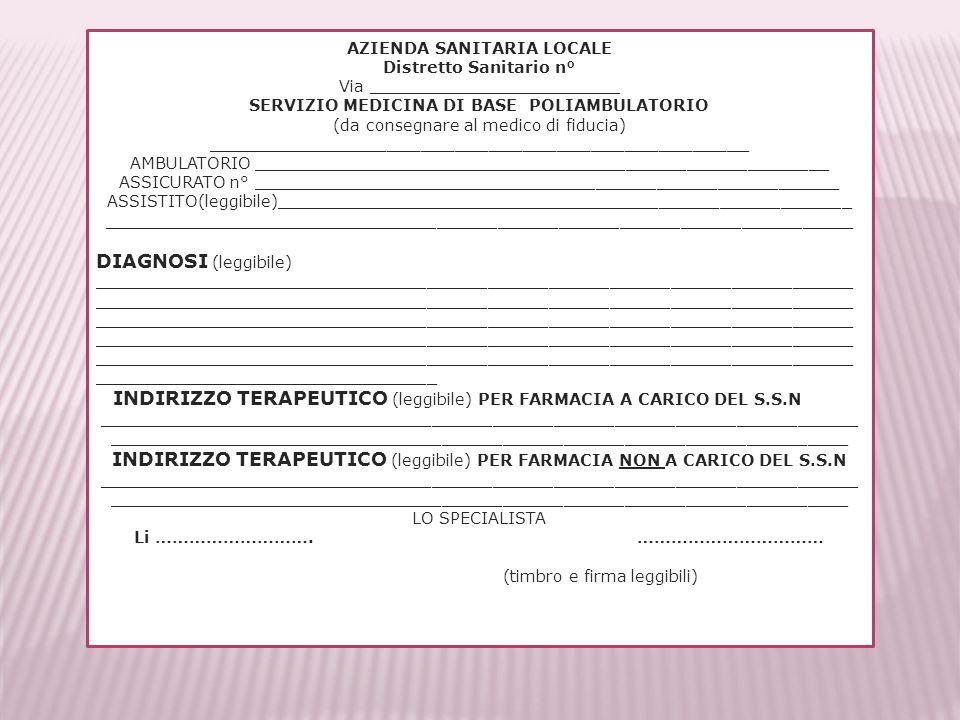 INDIRIZZO TERAPEUTICO (leggibile) PER FARMACIA NON A CARICO DEL S.S.N