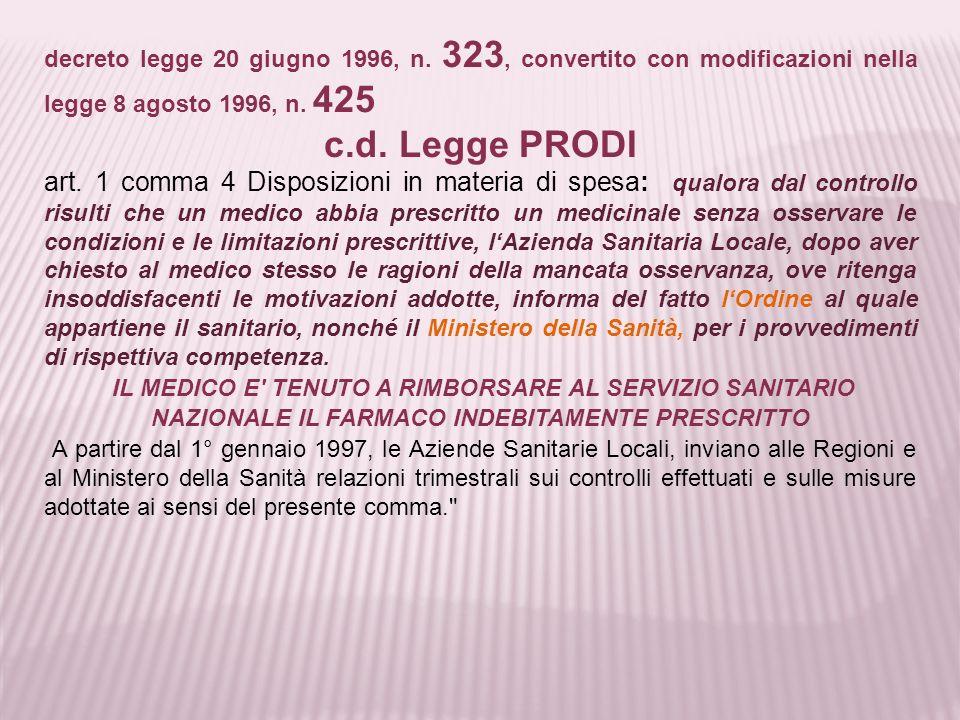 decreto legge 20 giugno 1996, n. 323, convertito con modificazioni nella legge 8 agosto 1996, n. 425