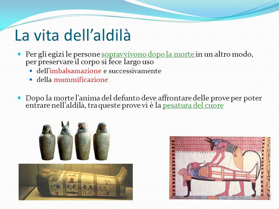 La vita dell'aldilà Per gli egizi le persone sopravvivono dopo la morte in un altro modo, per preservare il corpo si fece largo uso.