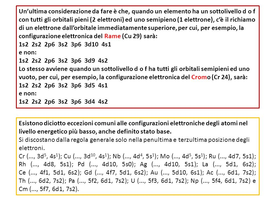 Un'ultima considerazione da fare è che, quando un elemento ha un sottolivello d o f con tutti gli orbitali pieni (2 elettroni) ed uno semipieno (1 elettrone), c'è il richiamo di un elettrone dall'orbitale immediatamente superiore, per cui, per esempio, la configurazione elettronica del Rame (Cu 29) sarà: 1s2 2s2 2p6 3s2 3p6 3d10 4s1 e non: 1s2 2s2 2p6 3s2 3p6 3d9 4s2 Lo stesso avviene quando un sottolivello d o f ha tutti gli orbitali semipieni ed uno vuoto, per cui, per esempio, la configurazione elettronica del Cromo (Cr 24), sarà: 1s2 2s2 2p6 3s2 3p6 3d5 4s1 e non: 1s2 2s2 2p6 3s2 3p6 3d4 4s2