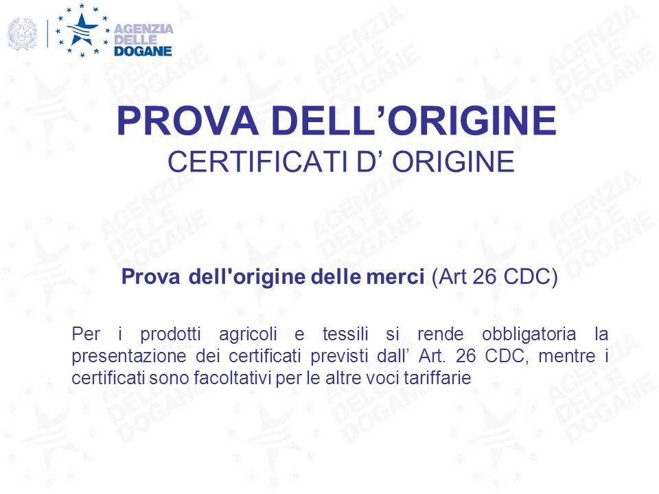 PROVA DELL'ORIGINE CERTIFICATI D' ORIGINE