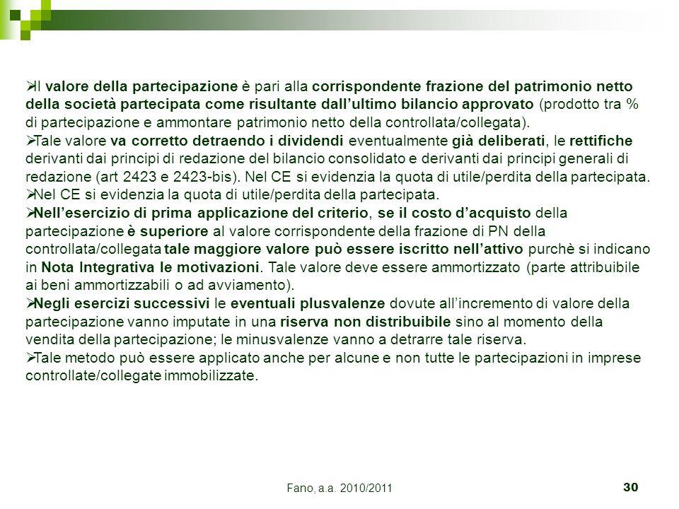 Nel CE si evidenzia la quota di utile/perdita della partecipata.