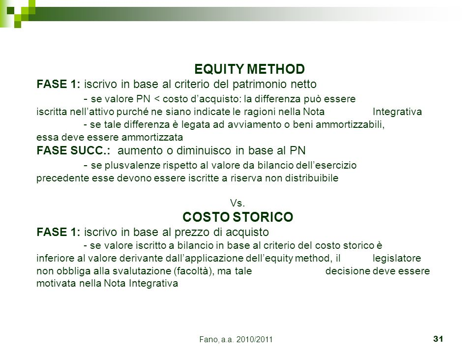 EQUITY METHOD COSTO STORICO