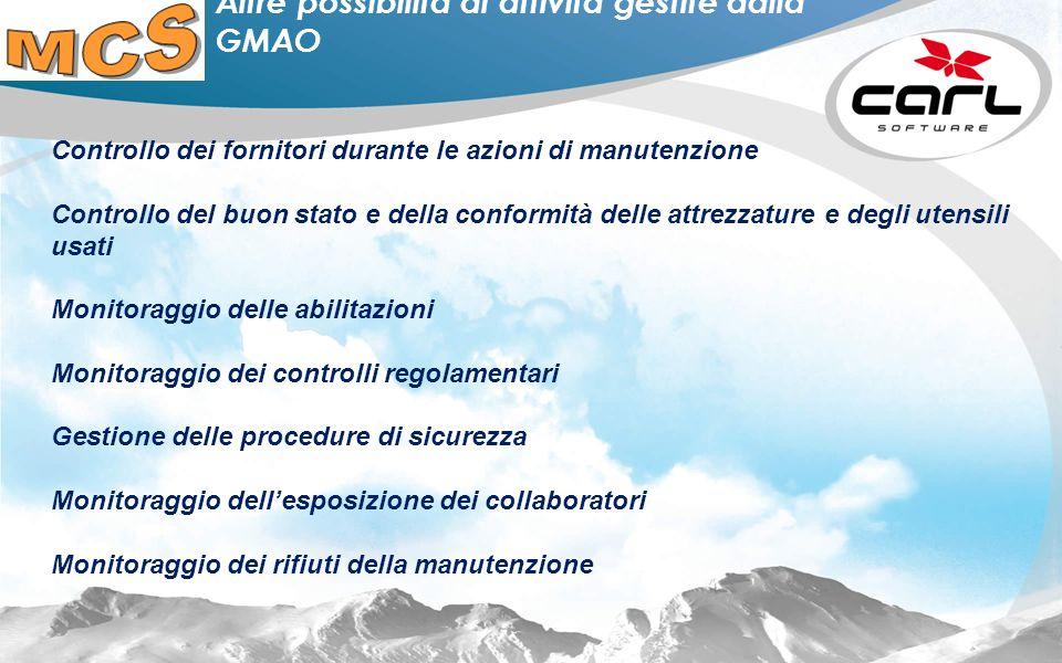 Altre possibilità di attività gestite dalla GMAO
