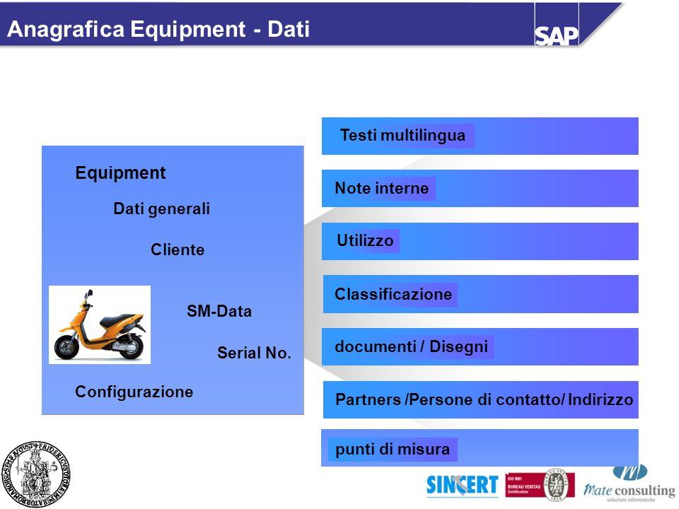 Anagrafica Equipment - Dati