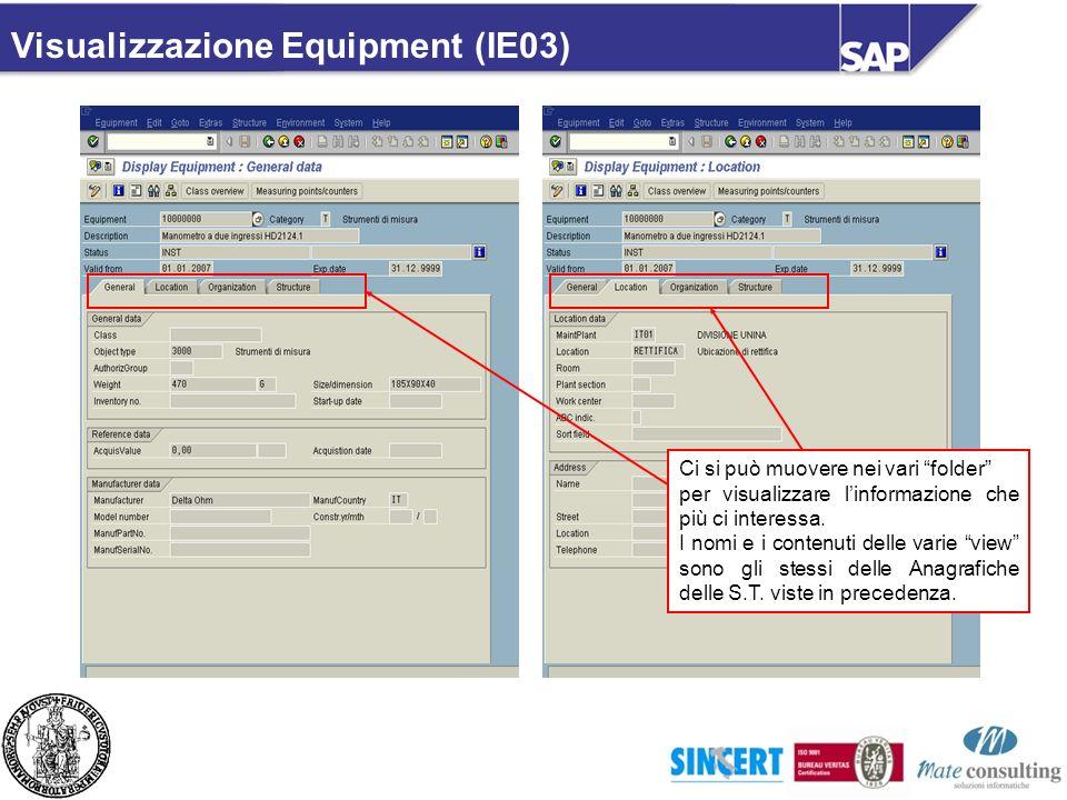 Visualizzazione Equipment (IE03)